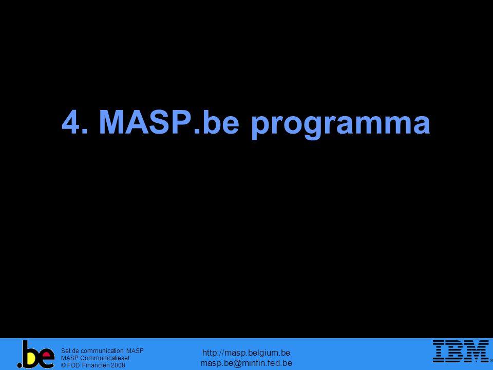 Set de communication MASP MASP Communicatieset © FOD Financiën 2008 http://masp.belgium.be masp.be@minfin.fed.be 4. MASP.be programma
