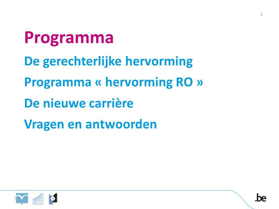 Programma De gerechterlijke hervorming Programma « hervorming RO » De nieuwe carrière Vragen en antwoorden 3