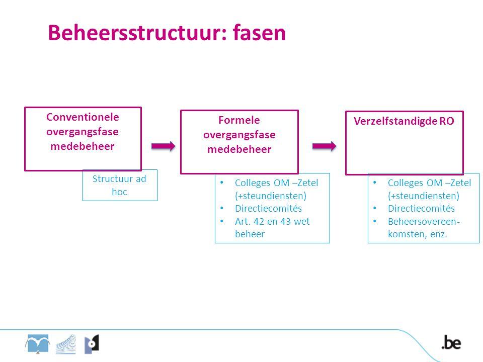Structuur ad hoc Beheersstructuur: fasen Conventionele overgangsfase medebeheer Verzelfstandigde RO Colleges OM –Zetel (+steundiensten) Directiecomités Art.