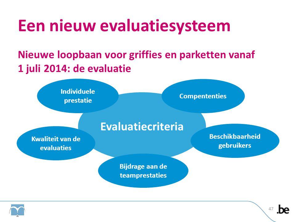Een nieuw evaluatiesysteem Nieuwe loopbaan voor griffies en parketten vanaf 1 juli 2014: de evaluatie 47 Beschikbaarheid gebruikers Evaluatiecriteria Kwaliteit van de evaluaties Individuele prestatie Compententies Bijdrage aan de teamprestaties