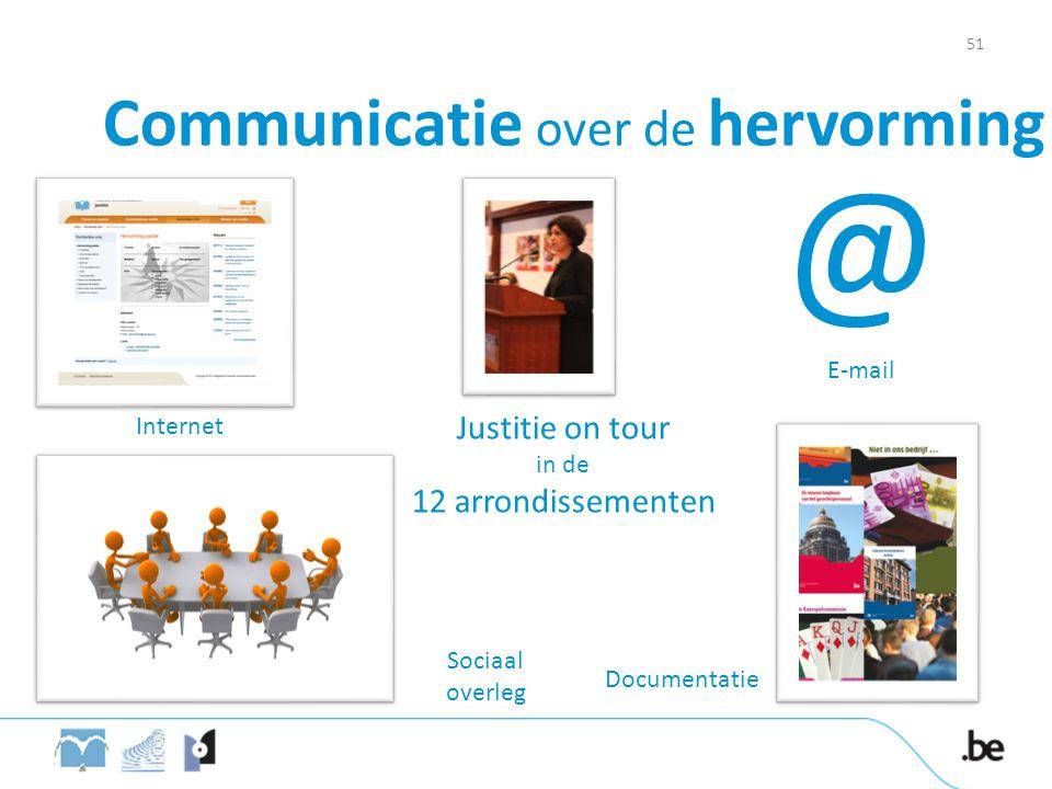 Communicatie over de hervorming Internet @ E-mail Sociaal overleg Justitie on tour in de 12 arrondissementen Documentatie 51