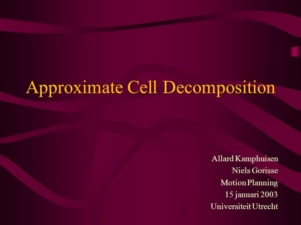 Divide-and-Label (1/7) 2 m -Tree Decomposition –ieder blad is een EMPTY, FULL of MIXED cel –MIXED cel : 2 m children –idee: iedere dimensie wordt in 2-en gehakt –m = dimensie van de C-space –vaak maximum aan hoogte van de tree