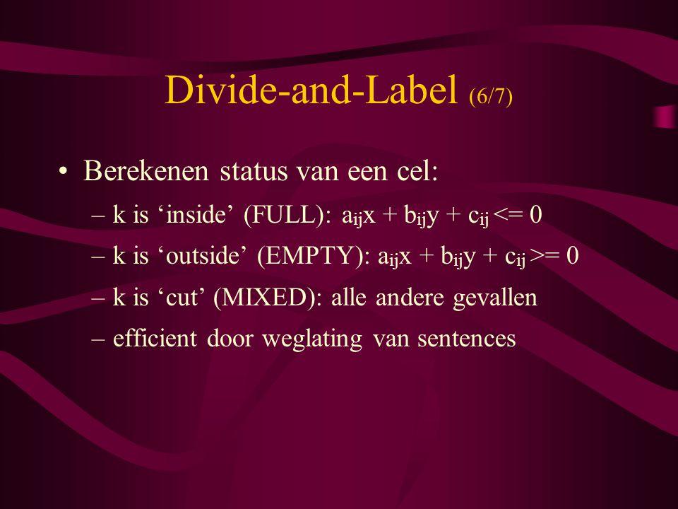 Divide-and-Label (6/7) Berekenen status van een cel: –k is 'inside' (FULL): a ij x + b ij y + c ij <= 0 –k is 'outside' (EMPTY): a ij x + b ij y + c ij >= 0 –k is 'cut' (MIXED): alle andere gevallen –efficient door weglating van sentences