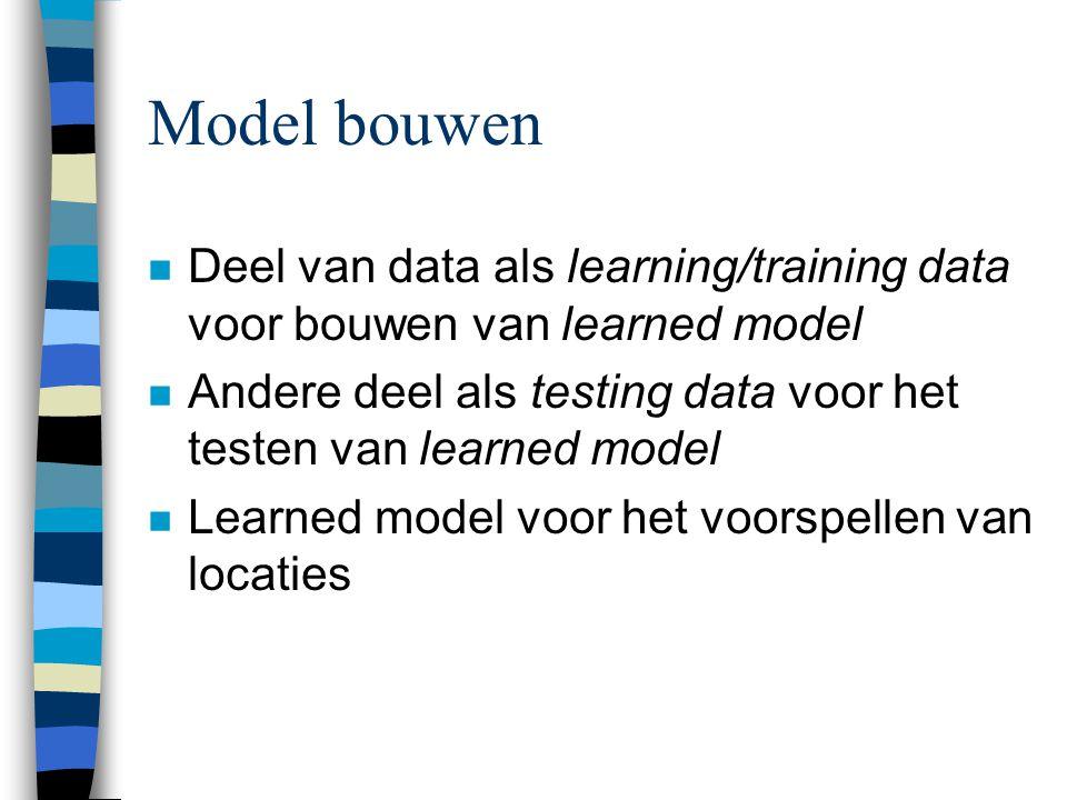 Model bouwen n Deel van data als learning/training data voor bouwen van learned model n Andere deel als testing data voor het testen van learned model n Learned model voor het voorspellen van locaties