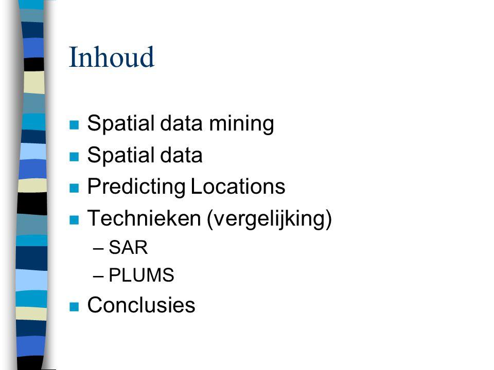 Spatial data mining n Spatial patterns belangrijk n 2 historische gevallen: –1855 Aziatische cholera in Londen –1909 inwoners van Colorado Springs n Spatial data mining = automatisch zoeken van mogelijke bruikbare patronen