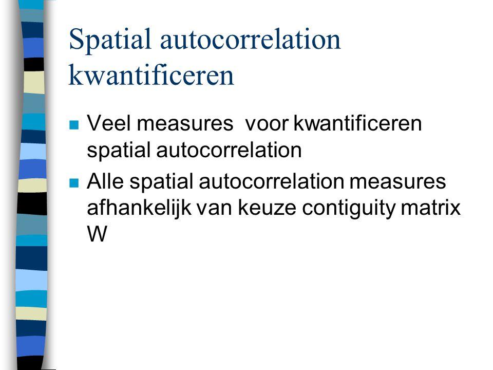 Spatial autocorrelation kwantificeren n Veel measures voor kwantificeren spatial autocorrelation n Alle spatial autocorrelation measures afhankelijk van keuze contiguity matrix W