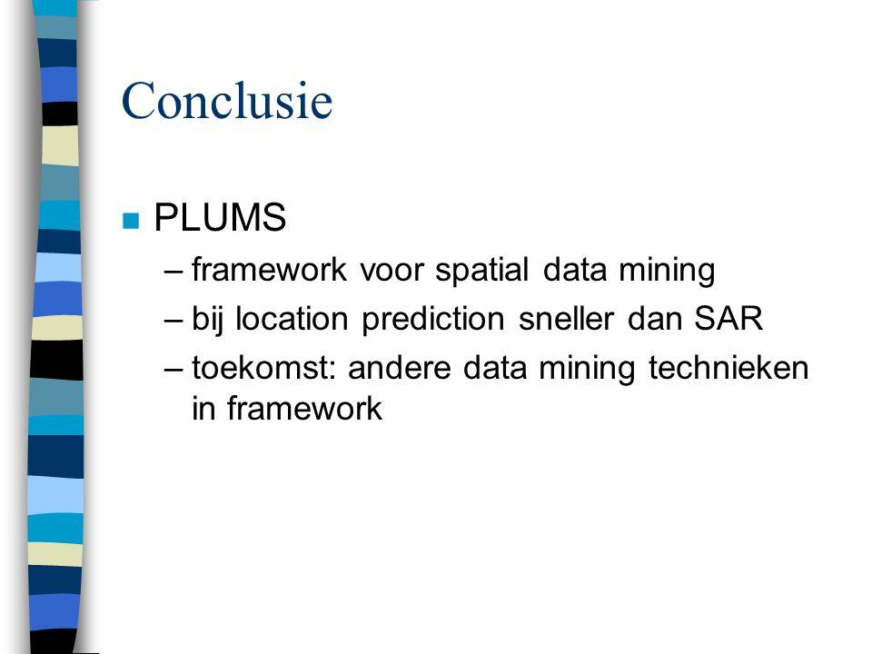 Conclusie n PLUMS –framework voor spatial data mining –bij location prediction sneller dan SAR –toekomst: andere data mining technieken in framework