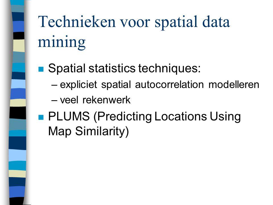 Location prediction n Spatial framework S bestaande uit sites {s 1,…,s n } n Verzamling explanatory functions –fx k : S  R k, k=1,…,K.