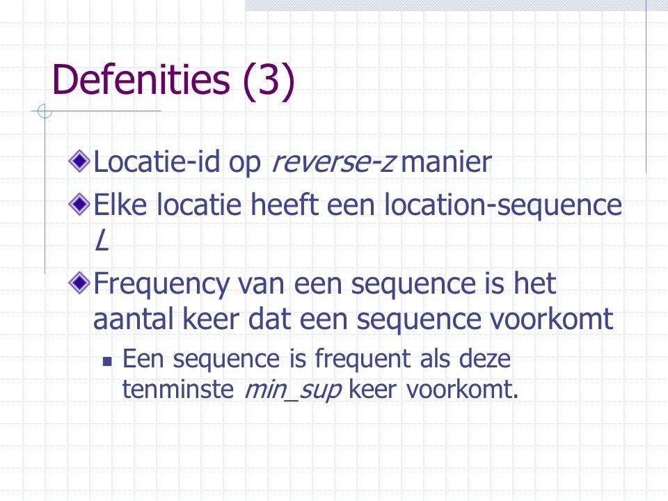 Defenities (3) Locatie-id op reverse-z manier Elke locatie heeft een location-sequence L Frequency van een sequence is het aantal keer dat een sequence voorkomt Een sequence is frequent als deze tenminste min_sup keer voorkomt.