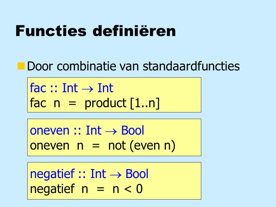Toepassing: priemgetallen deelbaar :: Int  Int  Bool deelbaar t n = (t/n)*n == t delers :: Int  [Int] delers x = filter (deelbaar x) [2..x-1] priem :: Int  Bool priem x = null (delers x) priem = null.