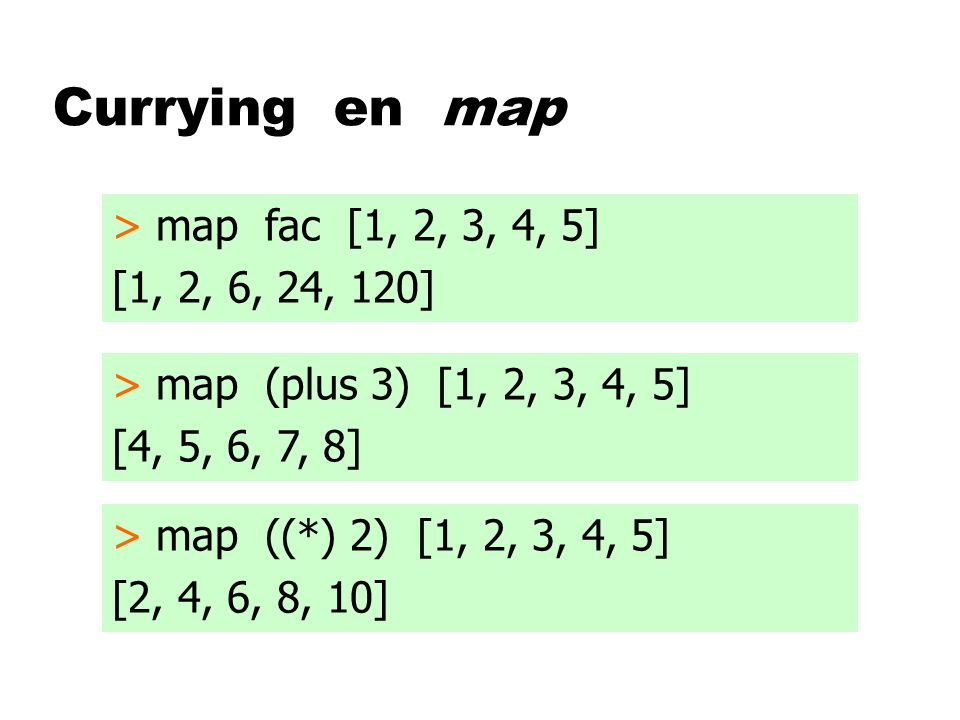 Currying en map > map fac [1, 2, 3, 4, 5] [1, 2, 6, 24, 120] > map (plus 3) [1, 2, 3, 4, 5] [4, 5, 6, 7, 8] > map ((*) 2) [1, 2, 3, 4, 5] [2, 4, 6, 8,