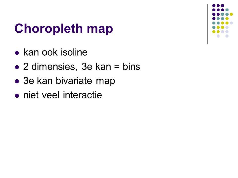 Choropleth map kan ook isoline 2 dimensies, 3e kan = bins 3e kan bivariate map niet veel interactie