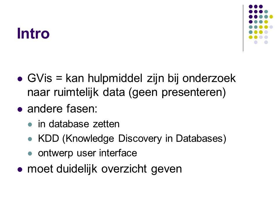 Intro GVis = kan hulpmiddel zijn bij onderzoek naar ruimtelijk data (geen presenteren) andere fasen: in database zetten KDD (Knowledge Discovery in Databases) ontwerp user interface moet duidelijk overzicht geven