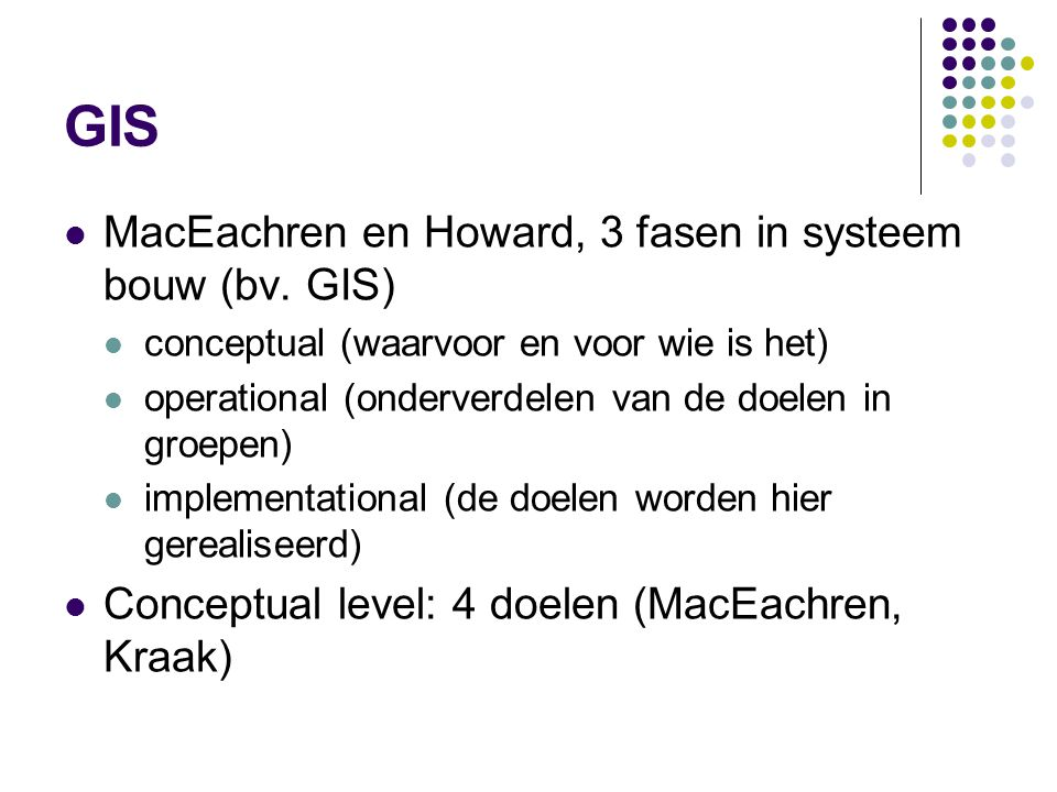 GIS MacEachren en Howard, 3 fasen in systeem bouw (bv.