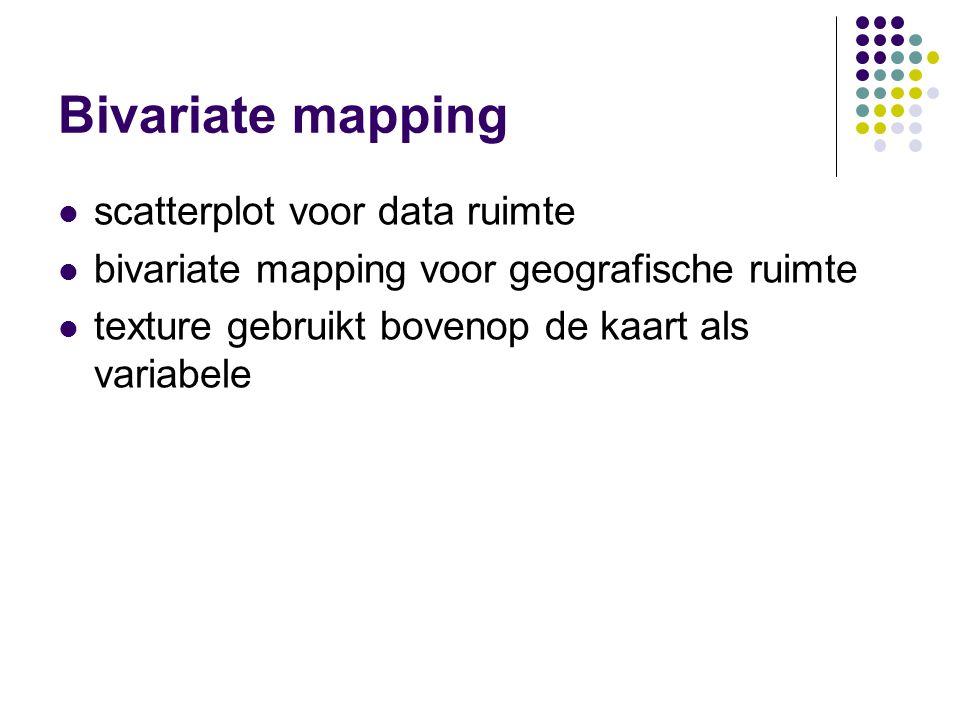 Bivariate mapping scatterplot voor data ruimte bivariate mapping voor geografische ruimte texture gebruikt bovenop de kaart als variabele