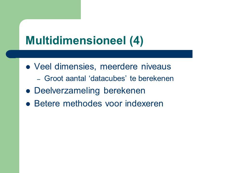 Multidimensioneel (4) Veel dimensies, meerdere niveaus – Groot aantal 'datacubes' te berekenen Deelverzameling berekenen Betere methodes voor indexere
