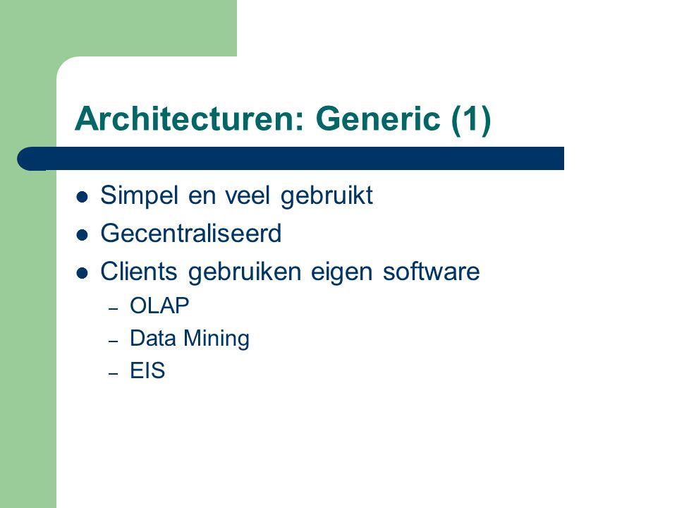 Architecturen: Generic (1) Simpel en veel gebruikt Gecentraliseerd Clients gebruiken eigen software – OLAP – Data Mining – EIS