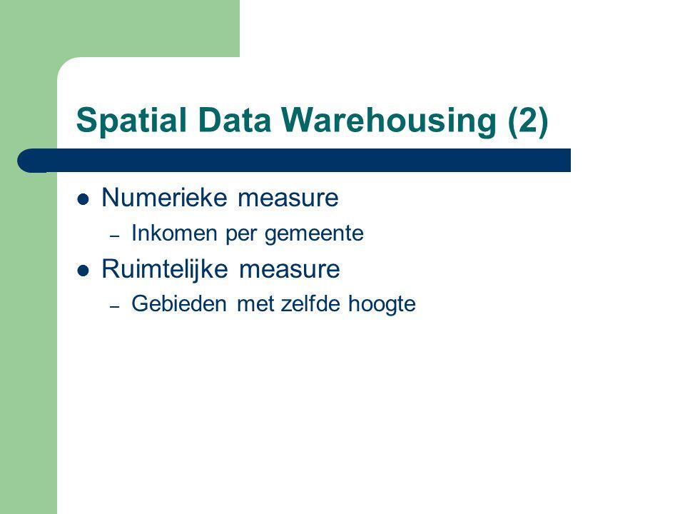 Spatial Data Warehousing (2) Numerieke measure – Inkomen per gemeente Ruimtelijke measure – Gebieden met zelfde hoogte