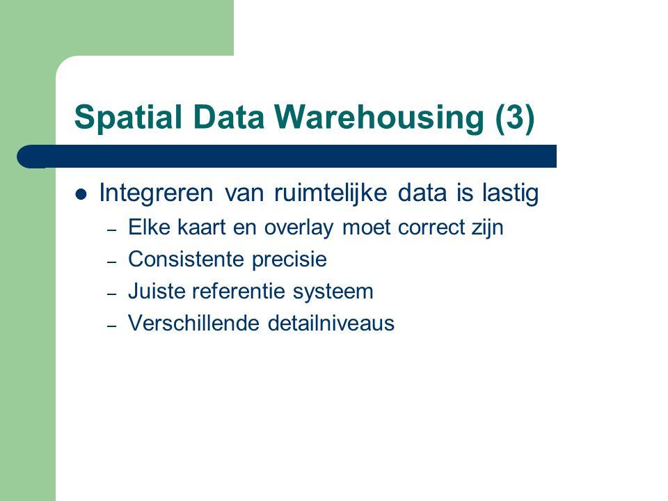 Spatial Data Warehousing (3) Integreren van ruimtelijke data is lastig – Elke kaart en overlay moet correct zijn – Consistente precisie – Juiste refer