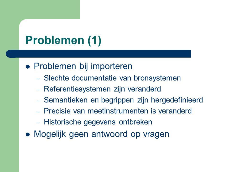 Problemen (1) Problemen bij importeren – Slechte documentatie van bronsystemen – Referentiesystemen zijn veranderd – Semantieken en begrippen zijn her