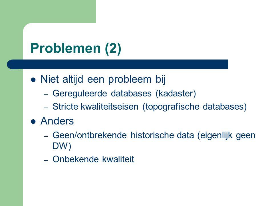 Problemen (2) Niet altijd een probleem bij – Gereguleerde databases (kadaster) – Stricte kwaliteitseisen (topografische databases) Anders – Geen/ontbr