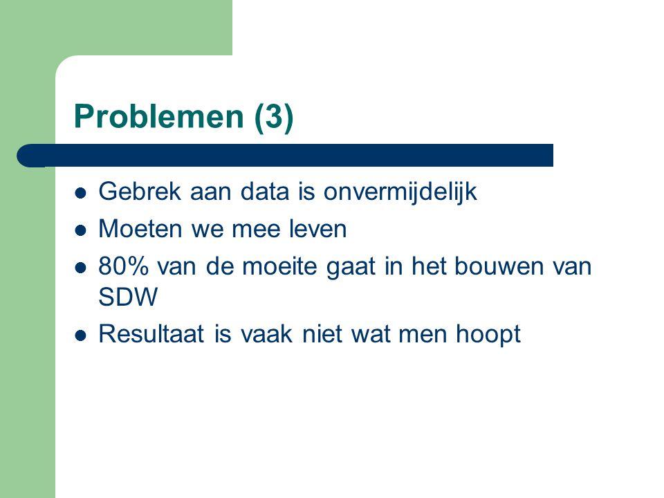 Problemen (3) Gebrek aan data is onvermijdelijk Moeten we mee leven 80% van de moeite gaat in het bouwen van SDW Resultaat is vaak niet wat men hoopt