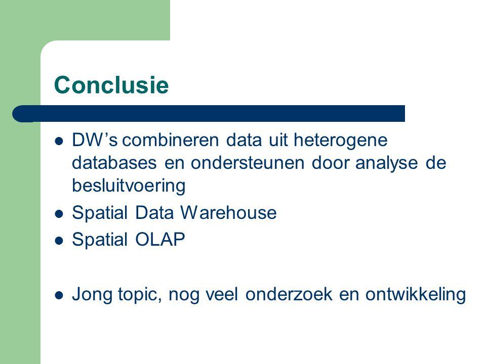 Conclusie DW's combineren data uit heterogene databases en ondersteunen door analyse de besluitvoering Spatial Data Warehouse Spatial OLAP Jong topic,