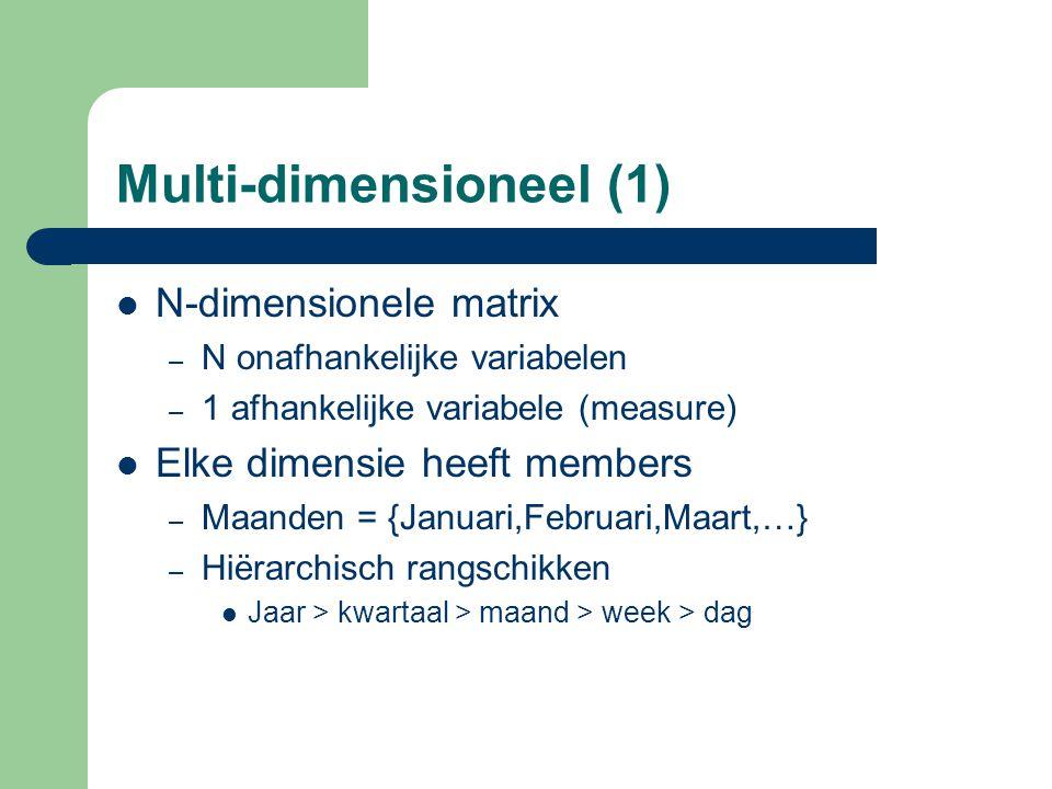 Multi-dimensioneel (1) N-dimensionele matrix – N onafhankelijke variabelen – 1 afhankelijke variabele (measure) Elke dimensie heeft members – Maanden
