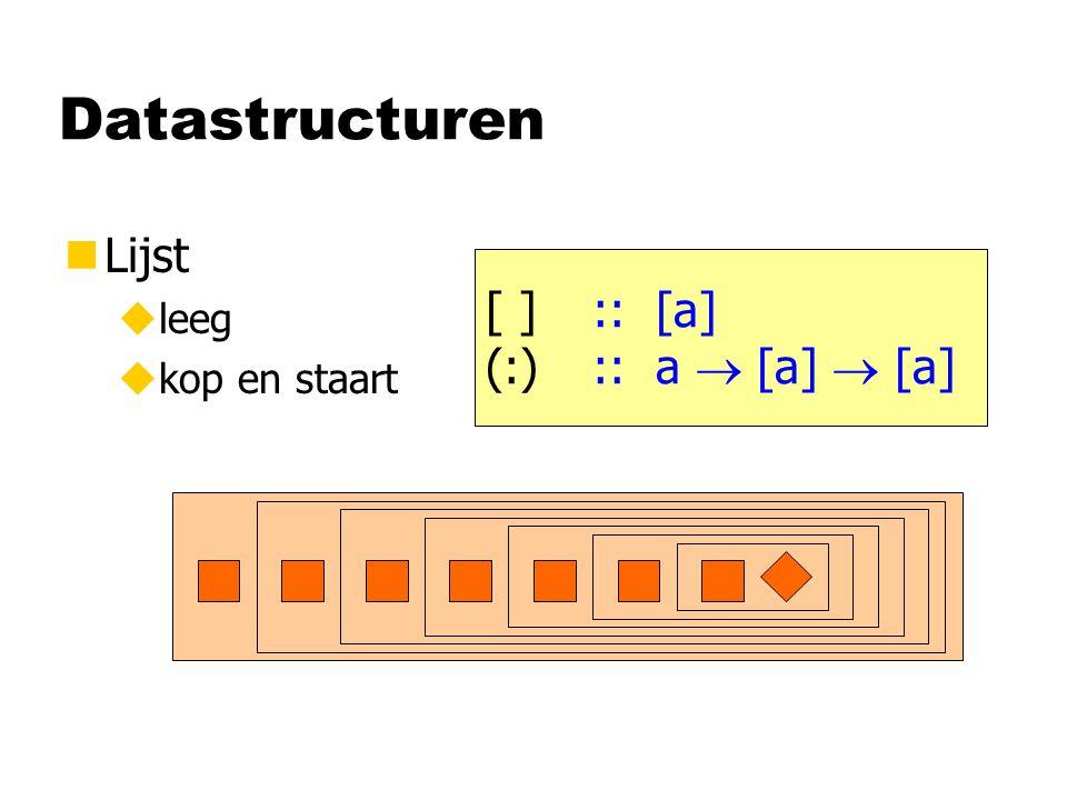 Datastructuren nLijst uleeg ukop en staart [ ] :: [a] (:):: a  [a]  [a]