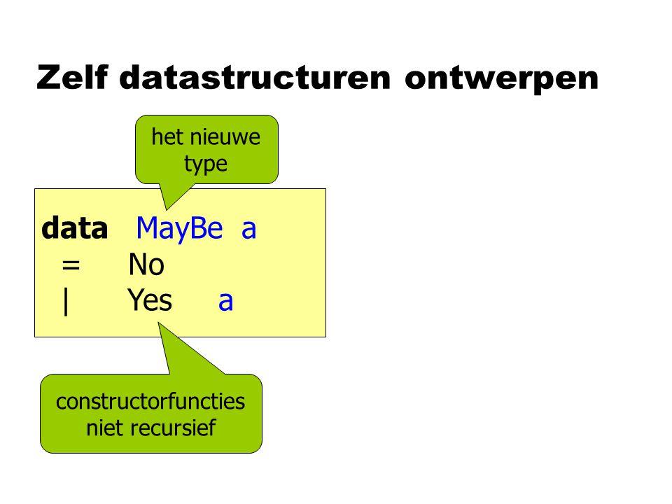 Zelf datastructuren ontwerpen data MayBe a = No | Yes a constructorfuncties niet recursief het nieuwe type