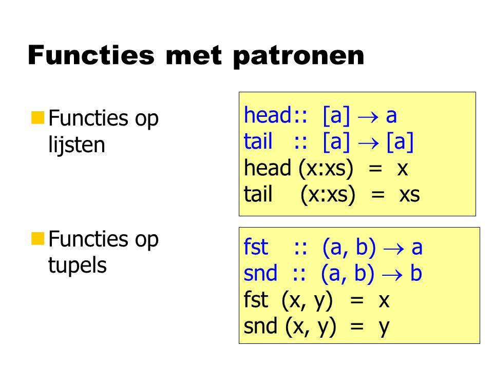 Lijst van tupels telefoonboek :: [ (String, Int) ] telefoonboek = [ ( Jeroen , 4118), ( Bastiaan , 2585), ( Jur , 3283), ( Arjan , 1012) ] zoek :: [ (String, Int) ]  String  Int > zoek telefoonboek Bastiaan 2585