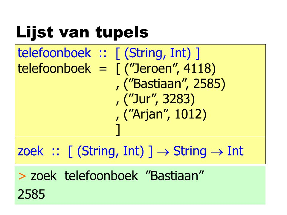 Functies op datastructuren nomvang ndiepte omvang :: Boom a  Int omvang Blad = 0 omvang (Tak x li re) = 1 + omvang li + omvang re diepte :: Boom a  Int diepte Blad = 0 diepte (Tak x li re) = 1 + max (diepte li) (diepte re)