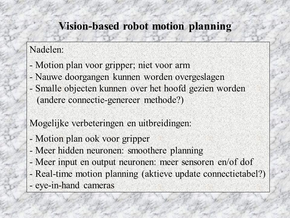Vision-based robot motion planning Nadelen: - Motion plan voor gripper; niet voor arm - Nauwe doorgangen kunnen worden overgeslagen - Smalle objecten kunnen over het hoofd gezien worden (andere connectie-genereer methode ) Mogelijke verbeteringen en uitbreidingen: - Motion plan ook voor gripper - Meer hidden neuronen: smoothere planning - Meer input en output neuronen: meer sensoren en/of dof - Real-time motion planning (aktieve update connectietabel ) - eye-in-hand cameras