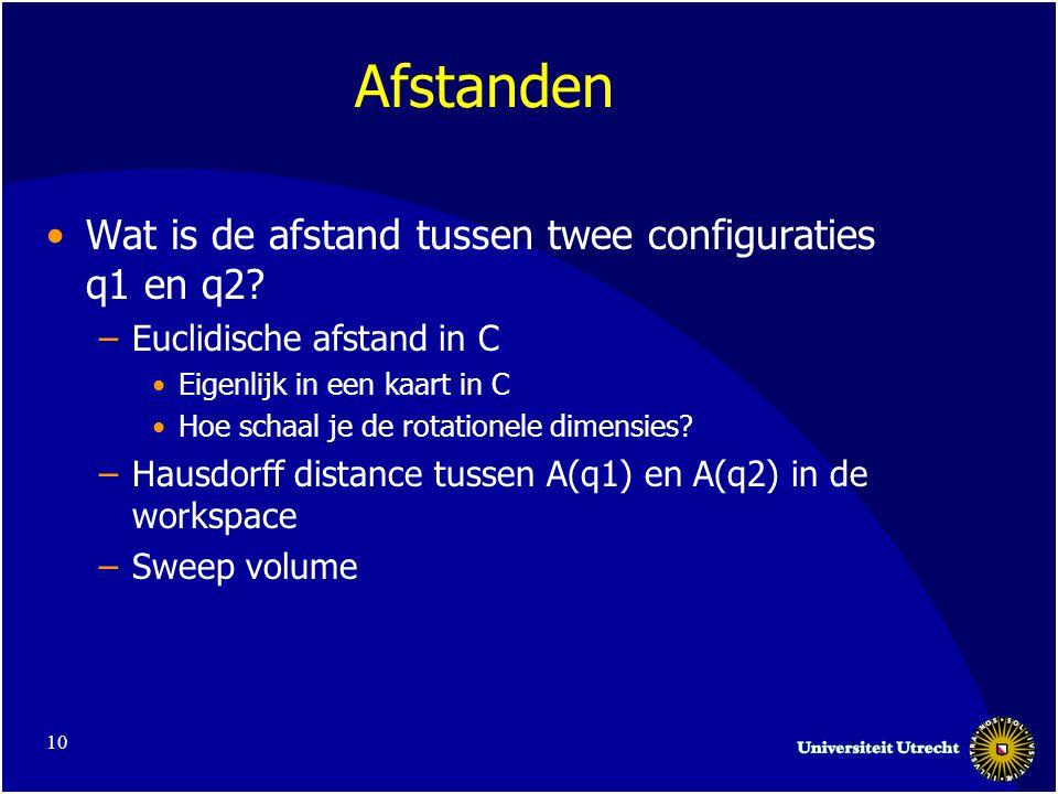 10 Afstanden Wat is de afstand tussen twee configuraties q1 en q2.
