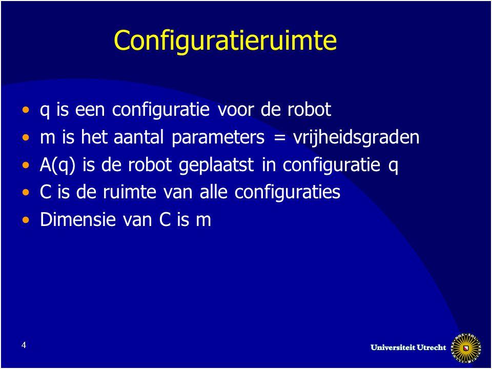 4 Configuratieruimte q is een configuratie voor de robot m is het aantal parameters = vrijheidsgraden A(q) is de robot geplaatst in configuratie q C is de ruimte van alle configuraties Dimensie van C is m