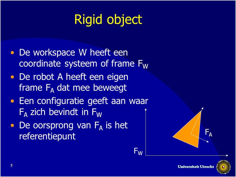 5 Rigid object De workspace W heeft een coordinate systeem of frame F W De robot A heeft een eigen frame F A dat mee beweegt Een configuratie geeft aan waar F A zich bevindt in F W De oorsprong van F A is het referentiepunt FWFW FAFA