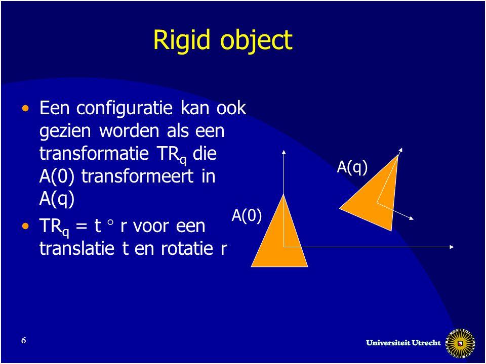 17 Berekenen (d=2) Translatie en rotatie Benadering –Bepaal een aantal slices in de rotatie richting –Voor elke slice bereken CB –Plak deze aan elkaar Kan ook voor de hele vrije ruimte gedaan worden Blaas de robot iets op om problemen te voorkomen