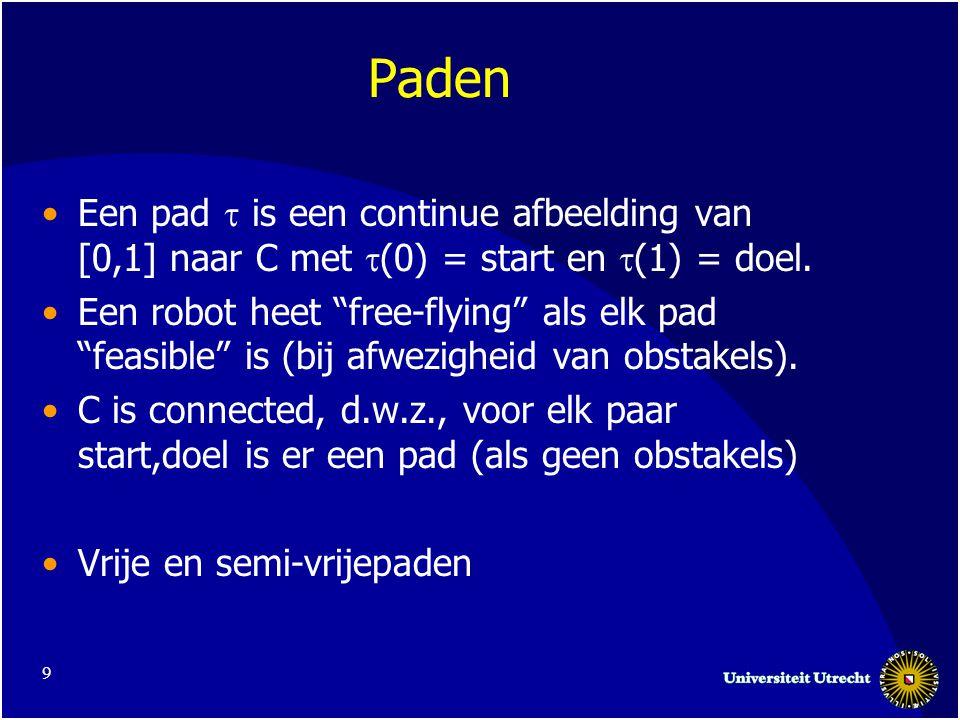 9 Paden Een pad  is een continue afbeelding van [0,1] naar C met  (0) = start en  (1) = doel.