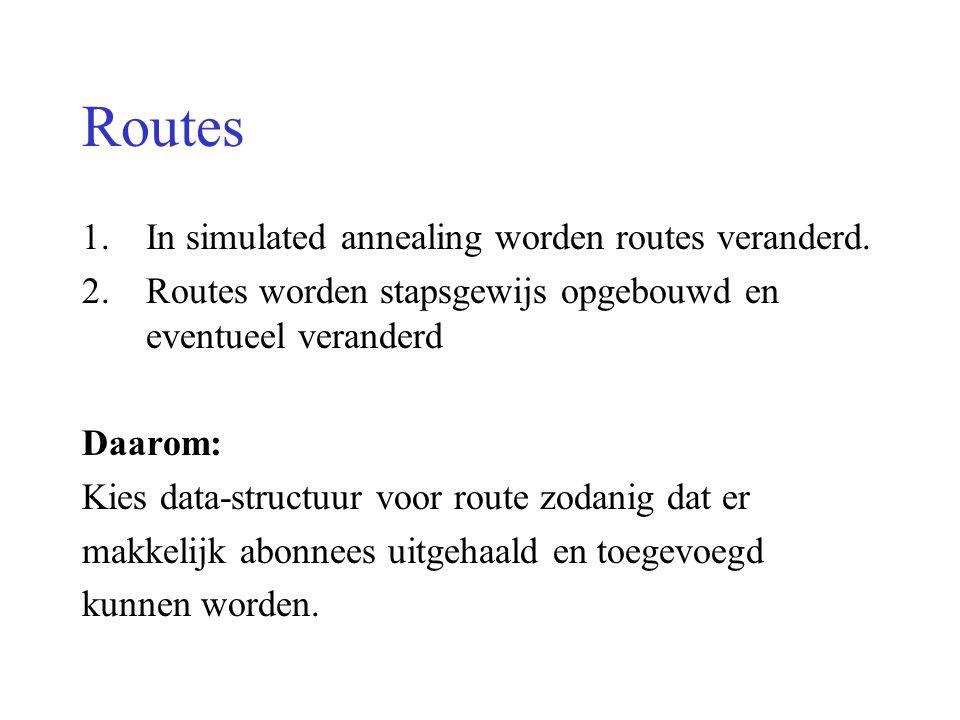 Routes 1.In simulated annealing worden routes veranderd. 2.Routes worden stapsgewijs opgebouwd en eventueel veranderd Daarom: Kies data-structuur voor