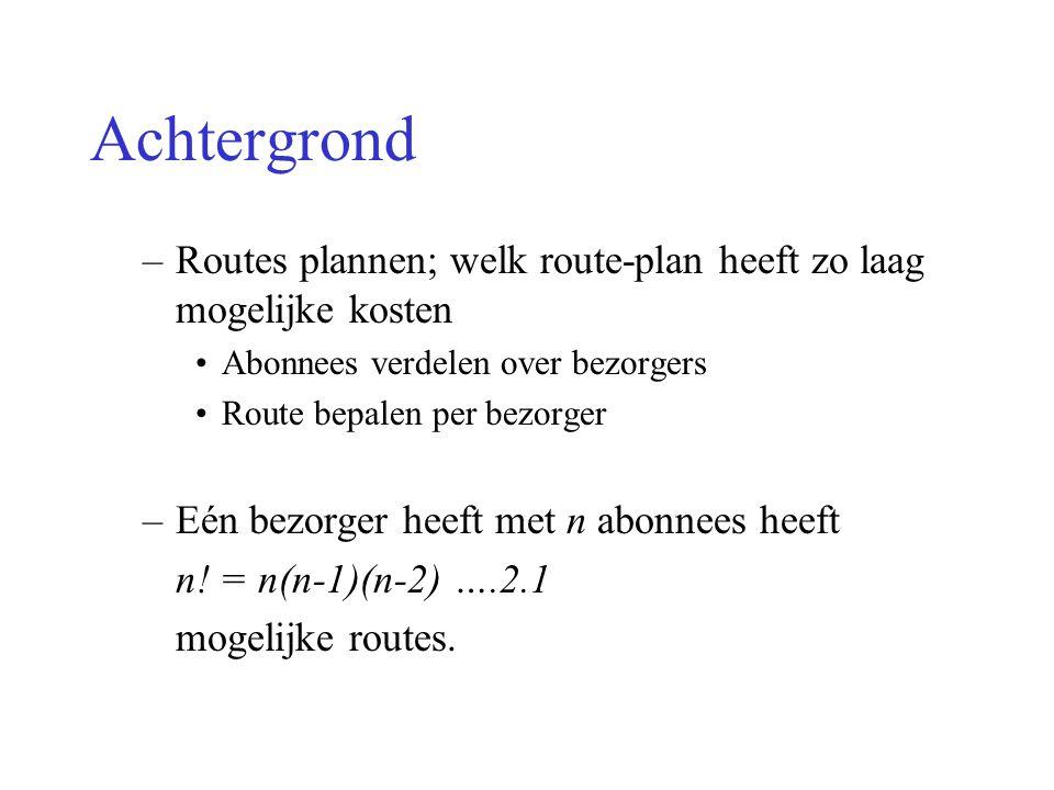 Achtergrond –Routes plannen; welk route-plan heeft zo laag mogelijke kosten Abonnees verdelen over bezorgers Route bepalen per bezorger –Eén bezorger