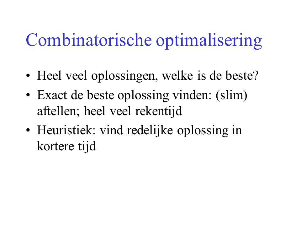 Combinatorische optimalisering Heel veel oplossingen, welke is de beste? Exact de beste oplossing vinden: (slim) aftellen; heel veel rekentijd Heurist