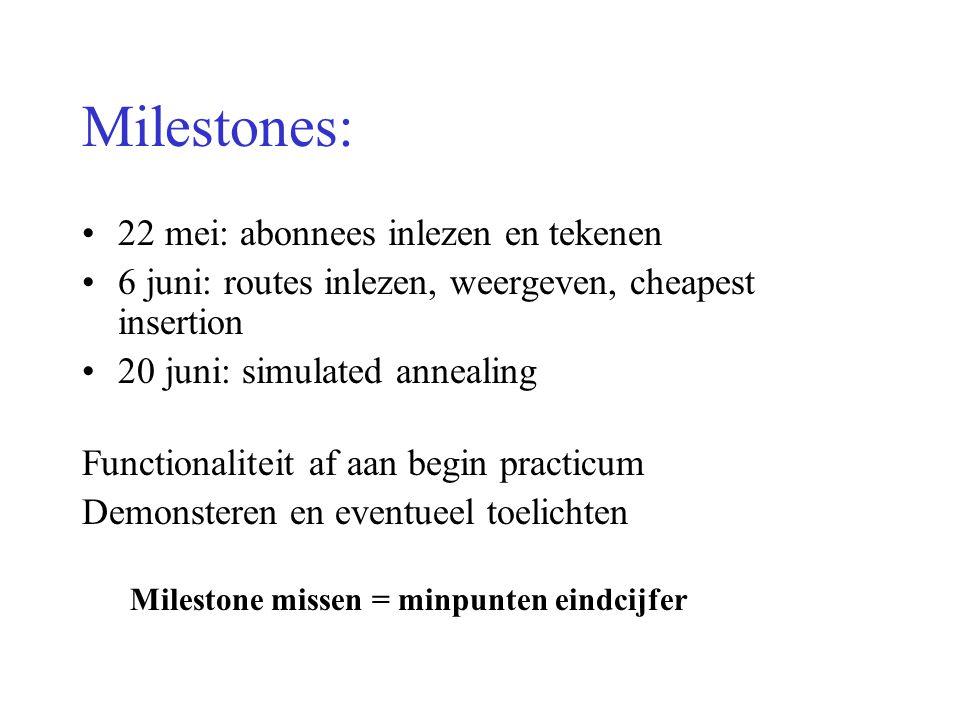 Milestones: 22 mei: abonnees inlezen en tekenen 6 juni: routes inlezen, weergeven, cheapest insertion 20 juni: simulated annealing Functionaliteit af
