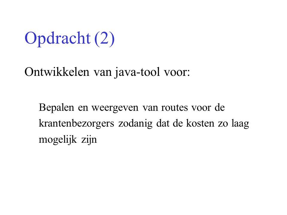 Opdracht (2) Ontwikkelen van java-tool voor: Bepalen en weergeven van routes voor de krantenbezorgers zodanig dat de kosten zo laag mogelijk zijn