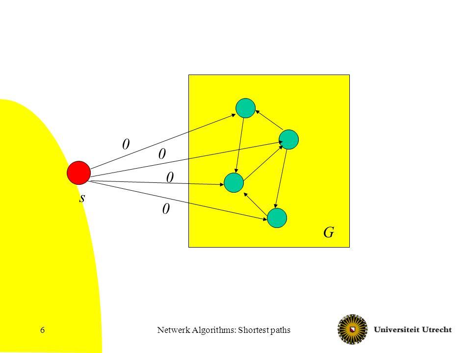Netwerk Algorithms: Shortest paths6 G s 0 0 0 0