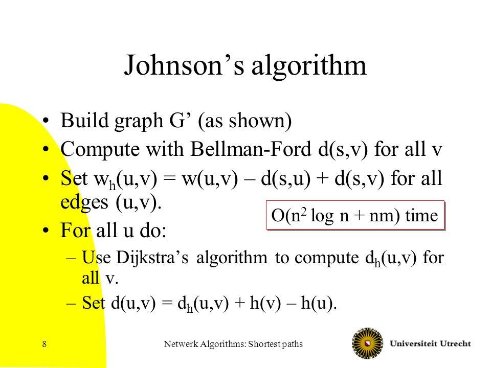 Netwerk Algorithms: Shortest paths8 Johnson's algorithm Build graph G' (as shown) Compute with Bellman-Ford d(s,v) for all v Set w h (u,v) = w(u,v) –