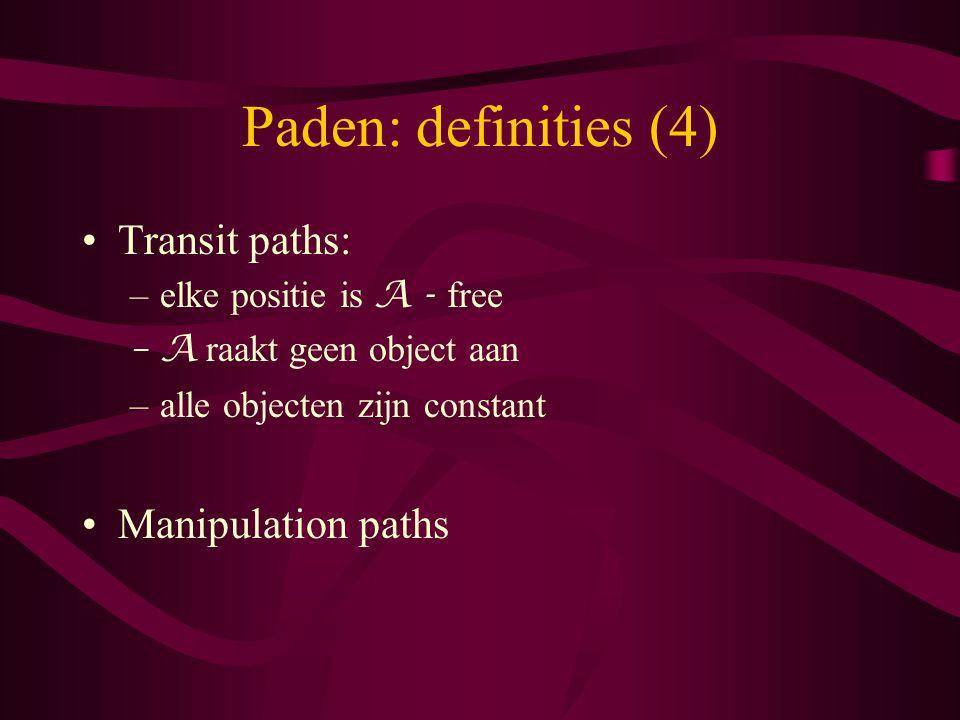 Paden: definities (4) Transit paths: –elke positie is A - free –A raakt geen object aan –alle objecten zijn constant Manipulation paths