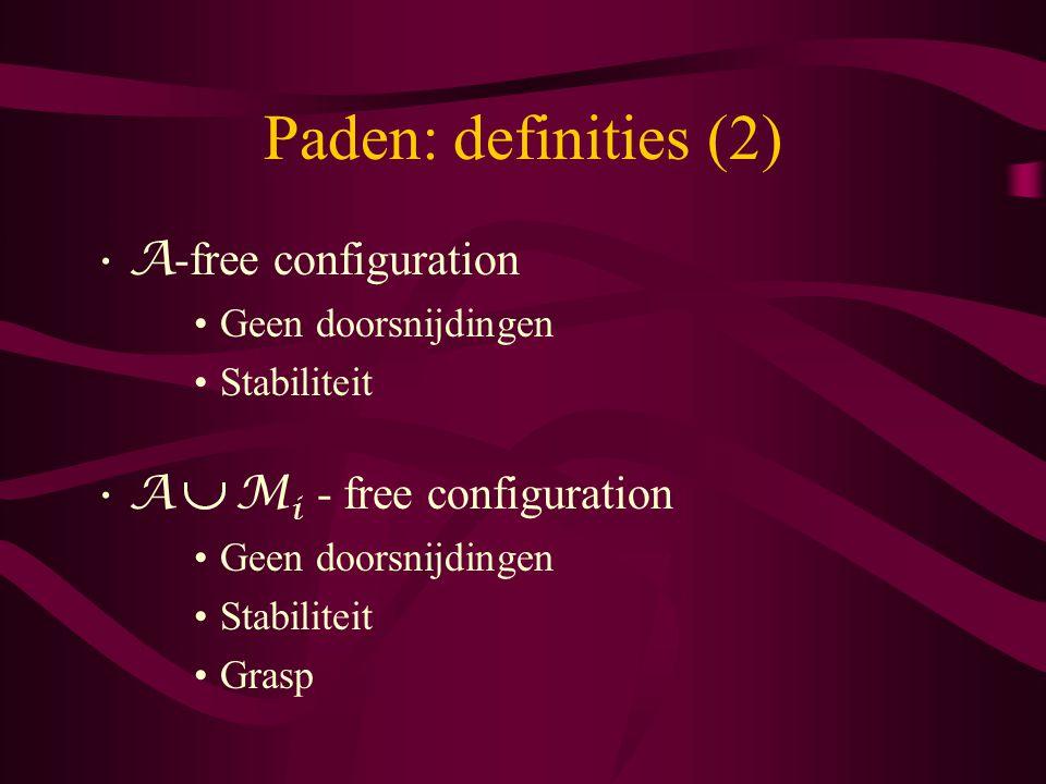 Paden: definities (3) Transfer paths: –elke positie is A M i - free –positie van A ten opzichte van M is constant –A raakt geen object aan –alle andere objecten zijn constant