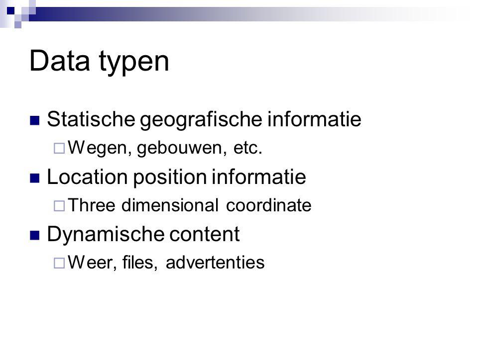 Data typen Statische geografische informatie  Wegen, gebouwen, etc. Location position informatie  Three dimensional coordinate Dynamische content 