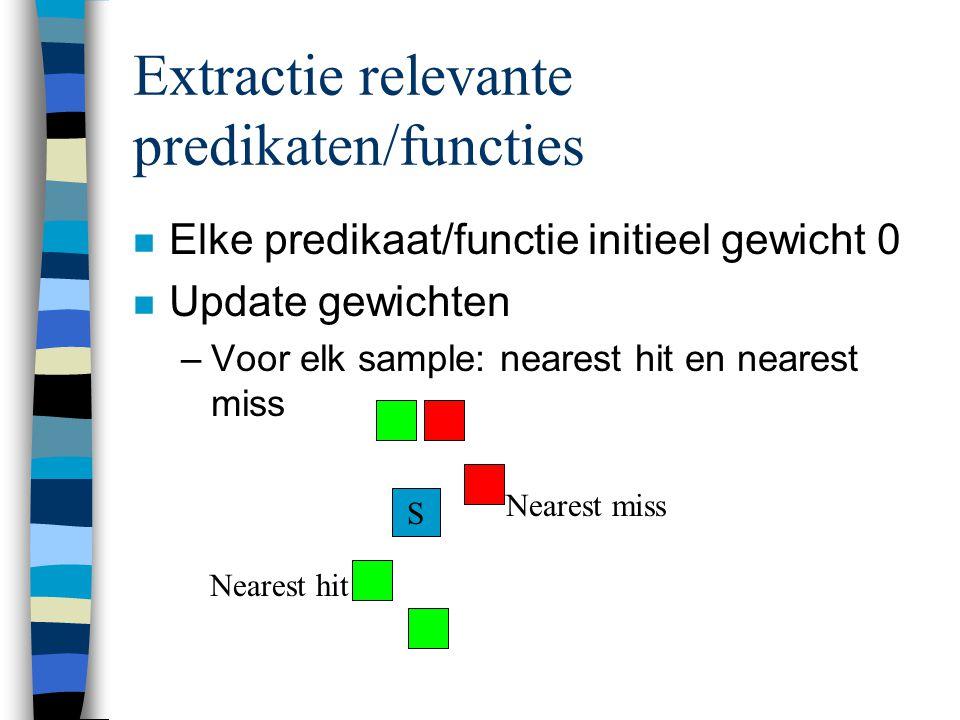 Extractie relevante predikaten/functies n Elke predikaat/functie initieel gewicht 0 n Update gewichten –Voor elk sample: nearest hit en nearest miss S Nearest miss Nearest hit