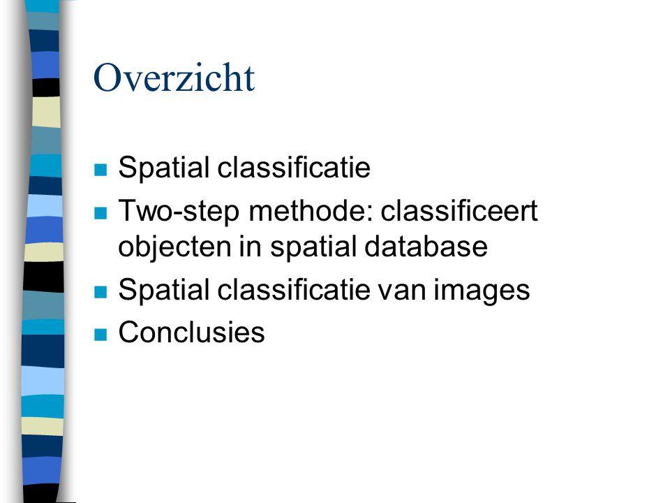 Overzicht n Spatial classificatie n Two-step methode: classificeert objecten in spatial database n Spatial classificatie van images n Conclusies